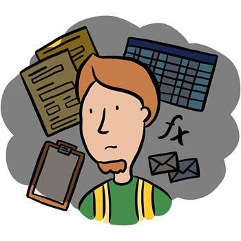 Illustration of user Dean who is surrounded by Paper forms and outdated software.
