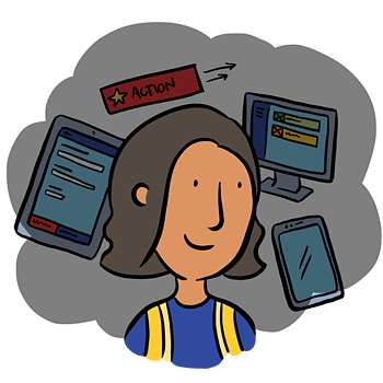 Illustration of user Maha who is surrounded by health and safety software Assure