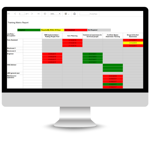 People - Training Matrix Report on Desktop
